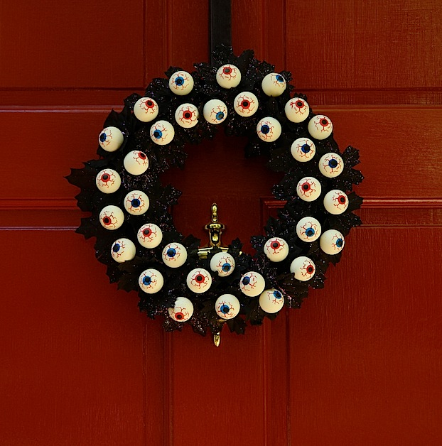 Found in Flickr's craft pool from user booturtle, this inexpensive eyeball wreath is sure to delight the kiddos.