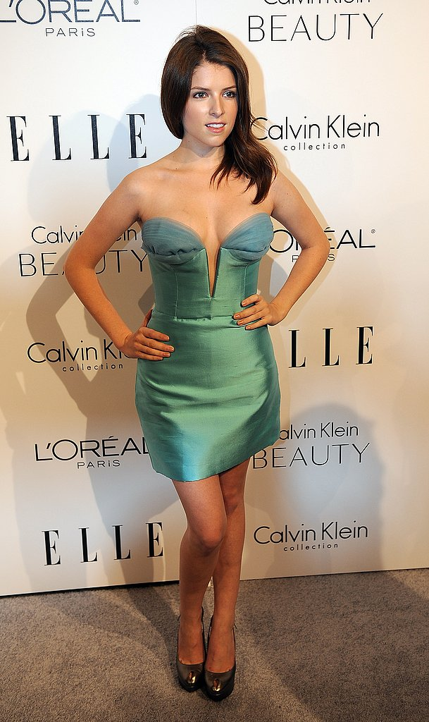 Anna Kendrick has a total glamazon moment in a metallic sea-green mini.