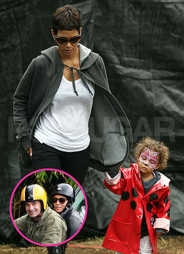 Pictures of Halle Berry and Olivier Martinez on a Motorcycle and Halle With Nahla Aubry at a Pumpkin Patch