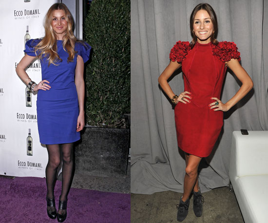 Colored sheath dresses are perfect for each. Whitney's darling in blue; Olivia dazzles in red.