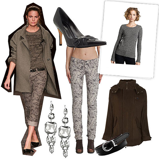 Isabel Marant Fall 2010, Juicy Couture Rabat Jeans ($110), J.Crew Marled Sweater ($56, originally $70), Vince Melton Coat ($650), Nine West Bow Pumps ($79), Isabel Marant Crystal Earrings ($550), Fossil Skinny Belt ($36)