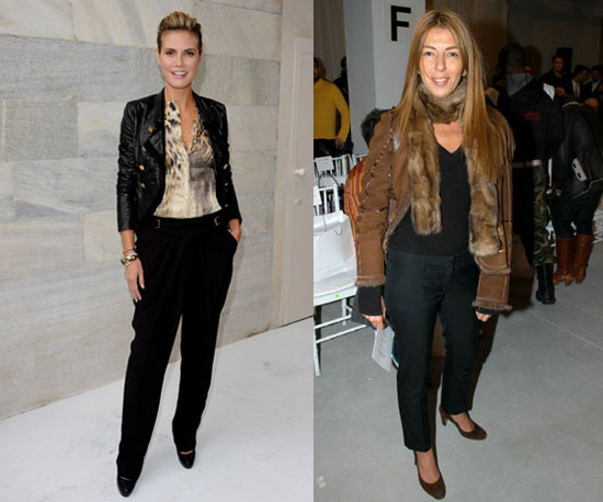 Heidi and Nina both wearing black trousers and stylish jackets.