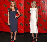 Nina and Heidi in Roland Mouret and black sandals.