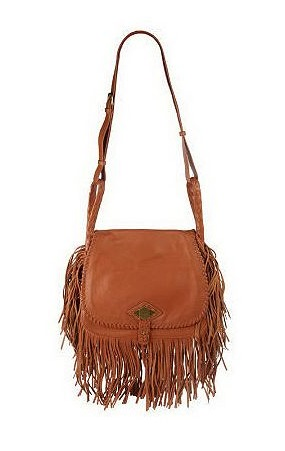 Rachel Zoe Pebble Leather Flap Front Handbag with Fringe Detail ($170)