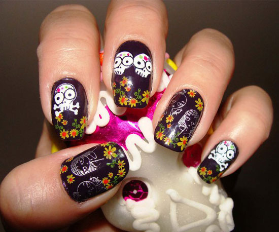Day of the Dead Konad Manicure