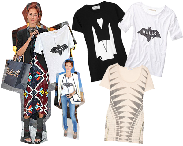 Taylor Tomasi Hill, Yves Saint Laurent Tee ($290), Alexa Chung for Madewell Bat Tee ($48), Sass & Bide Behind the Scenes T-shirt ($130)   Source and Source