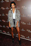 Solange Knowles knows how to keep herself funky but chic. Especially love the leather shorts and leopard jacket.