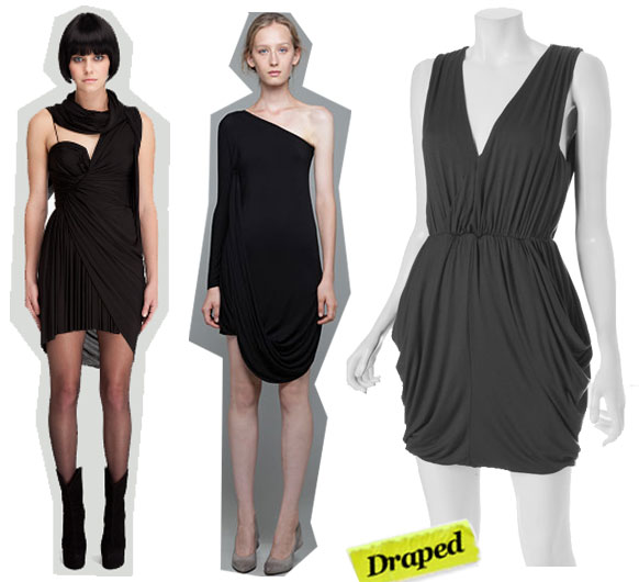 Alexander Wang Draped Scarf Dress ($895), Under.Ligne by Doo.Ri One-Shoulder Draped Dress ($295), Wyatt Draped Dress ($88)