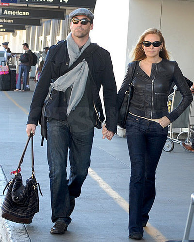 Pictures of Jon Hamm and Jennifer Westfeldt Landing at LAX