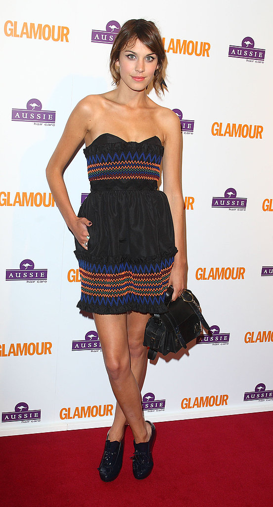 Strapless and stripey at the Glamour Women of the Year Awards in June '08.