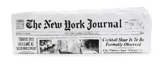 The Journal Newspaper Clutch, $125