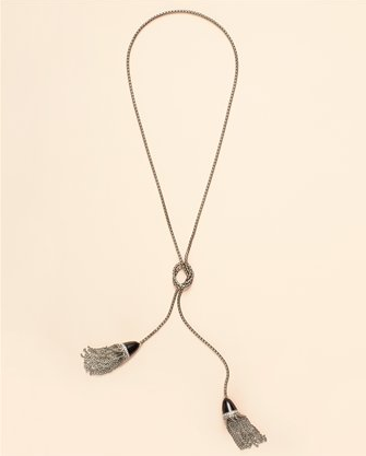 Double Tassel Necklace in Silver, $98 (also in Gold)