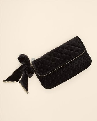 Velvet Clutch with Bow, $198