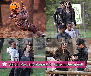 Pictures of Shiloh, Pax, and Zahara Zip-Lining in Budapest With Brad and Angelina