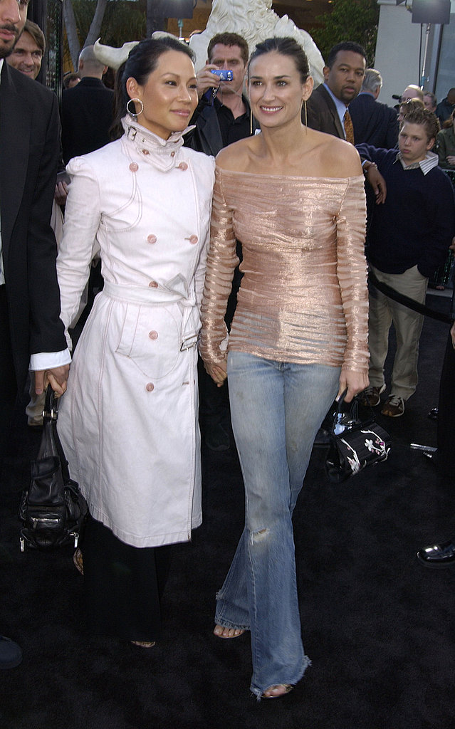 One of my favorite casual looks — glammed-up denim with Lucy Liu at the The Matrix Reloaded premiere in '03.