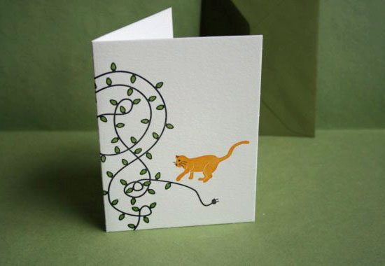 While the design is playful, these Letterpress Printed Holiday Cat and Lights Cards ($28 for 12) are beautifully handmade.