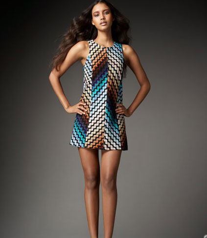"""""""I'm really into the mod feeling of this dress. I love it with tights and a high heel."""" Missoni Paneled Zigzag Knit Dress ($1600)"""