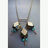 Geometric Chunky Horn and Turquoise Necklace ($58)