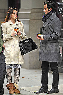 Pictures of Penn Badgley and Leighton Meester Filming Gossip Girl