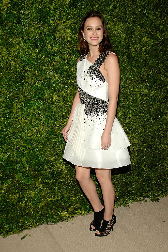 Leighton Meester showed off a little sparkle via a custom Prabal Gurung dress.