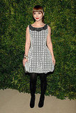 Christina Ricci kept it classic in a black and white Peter Som sheath.