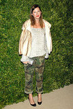 Jenna Lyons kept it fresh in a fashionable mashup: fur coat and camo pants.