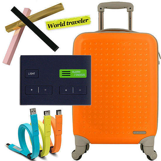 Tsubota Pearl Stick Perfume Applicator ($29), Sam Hecht Jetlag Alarm Clock ($40), LaCie Flat Cables ($13), Hideo Wakamatsu Jelly Bean Trolley Suitcase ($185)