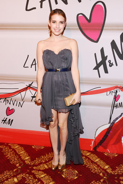 Emma Roberts showed up in a gray Topshop gown with asymmetrical hem.