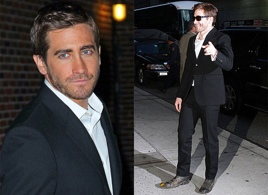 Jake Gyllenhaal Arriving at The Late Show and Interview with David Letterman