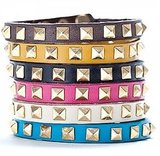 Linea Pelle Stackable Skinny Cuff with Gold Pyramid Studs ($25)