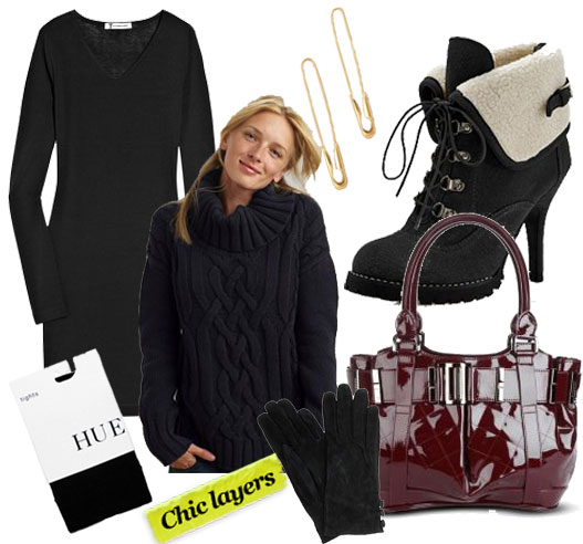 T by Alexander Wang Mini Dress ($110), Land's End Chunky Cableknit Sweater ($70), Tom Binns Small Gold Safety Pin Earrings ($154), Envy Rocky Road Bootie ($80), Hue Tights ($18), Aldo Suede Gloves ($25), Burberry Quilted Patent Leather Tote ($1,395)