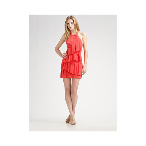 Tiered Silk Halter Dress, approx $82, BCBG Max Azria from Saks Fifth Avenue