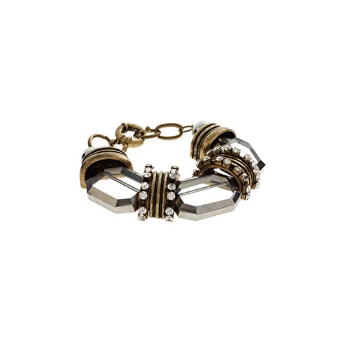 Glass and Rhodium Bracelet