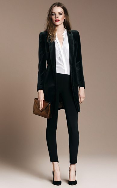 Velvet Frock Coat ($189), Basic Knit Court Shoe ($90)