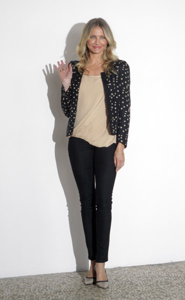 Cameron Diaz churned out some amazing looks this week; this dotted jacket look was my fave. Whimsical but practical, too.