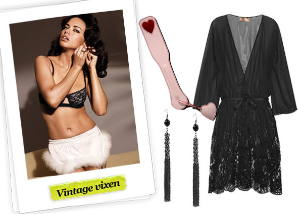 Victoria's Secret Lace Demi Bra ($42), Victoria's Secret Santa Skirt ($25), Agent Provocateur Adorna Paddle ($170), Forever 21 Tassel Earrings ($6), Rosamosario Classica Belleza Silk-chiffon and Lace Robe ($760)