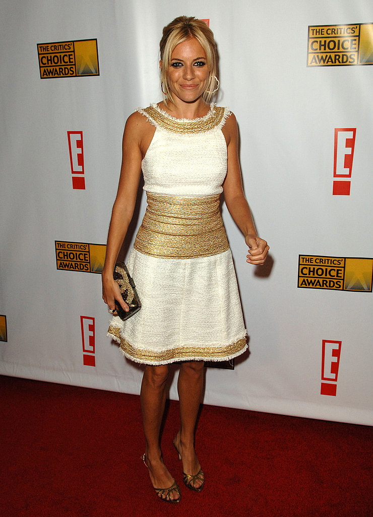 Sienna took the Critics' Choice Awards red carpet in a ladylike, gold-trimmed dress in 2007.