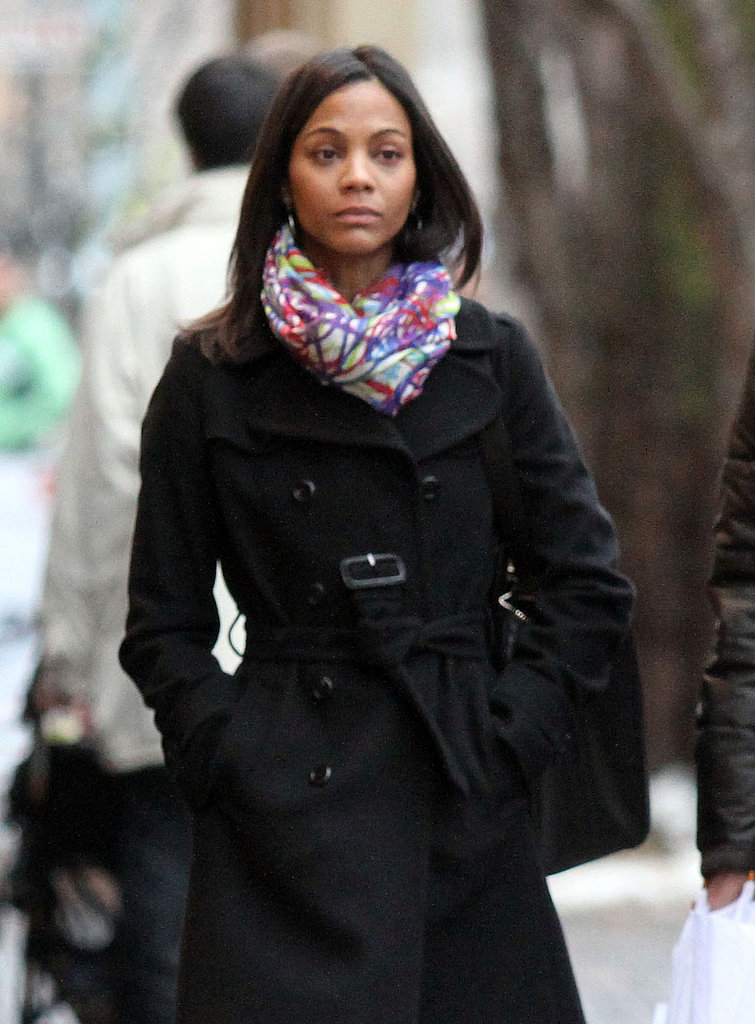 Zoe Saldana and Her Fiancé Keep Close in Chilly Colorado