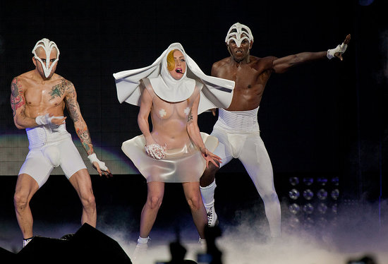 Gaga dances in a revealing nun costume.