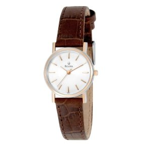 Swap out your metal watch for this classic stunner by Bulova — we love the simple shape and alligator embossed texture.  Bulova Women's 98V31 White Dial Strap Watch ($131, originally $175)