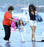 Salma Hayek Covers Up Her Bikini For a Boat Ride