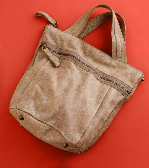 The tote bag ($238) with a worn, leathery appeal.
