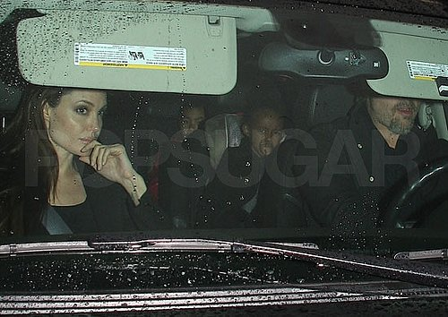 Pictures of Brad Pitt and Angelina Jolie With Shiloh, Maddox, and Pax Leaving a Sushi Restaurant in LA
