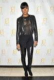Kelly Rowland partied in slick black leather and a new cropped 'do.