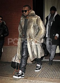 Pictures of Kanye West Leaving His NYC Hotel Wearing Nike Jordans