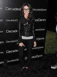 Abigail donned a slick black leather jacket and brogues at an event.