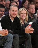 Engaged Reese and Jim Join Beckham Courtside at the Lakers Game