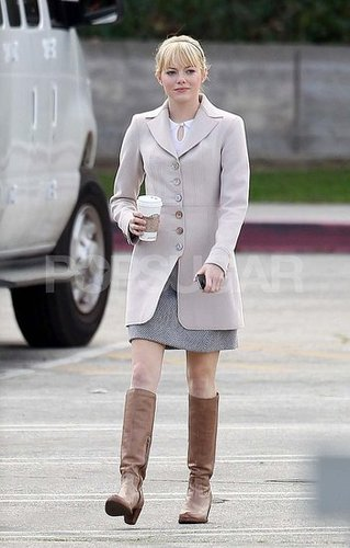 Pictures of Emma Stone Filming Spider Man in LA