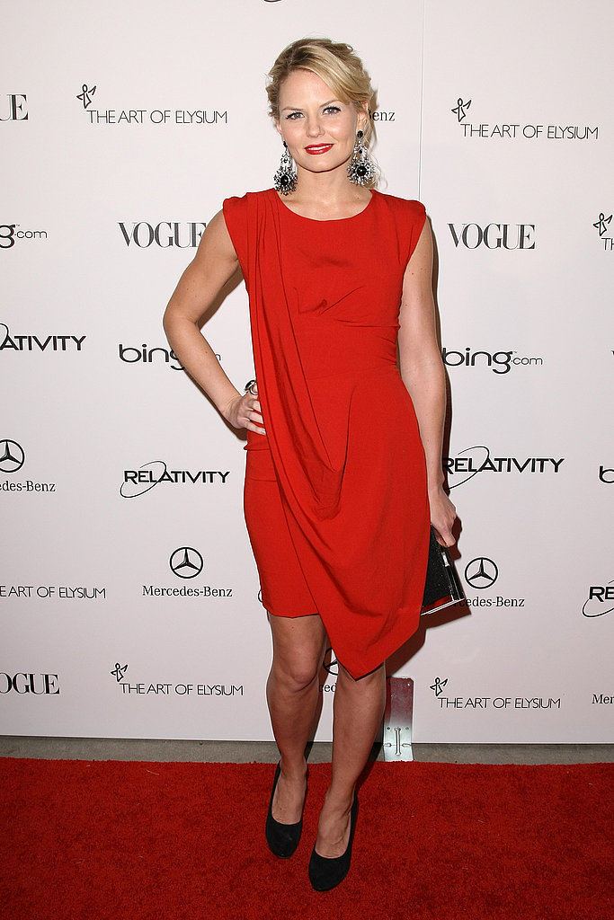 House star Jennifer Morrison chose a drapey red sheath dress.
