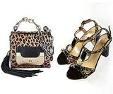 Left, a leopard-print bag from DVF; at right, sexy shoes from Kate Spade.